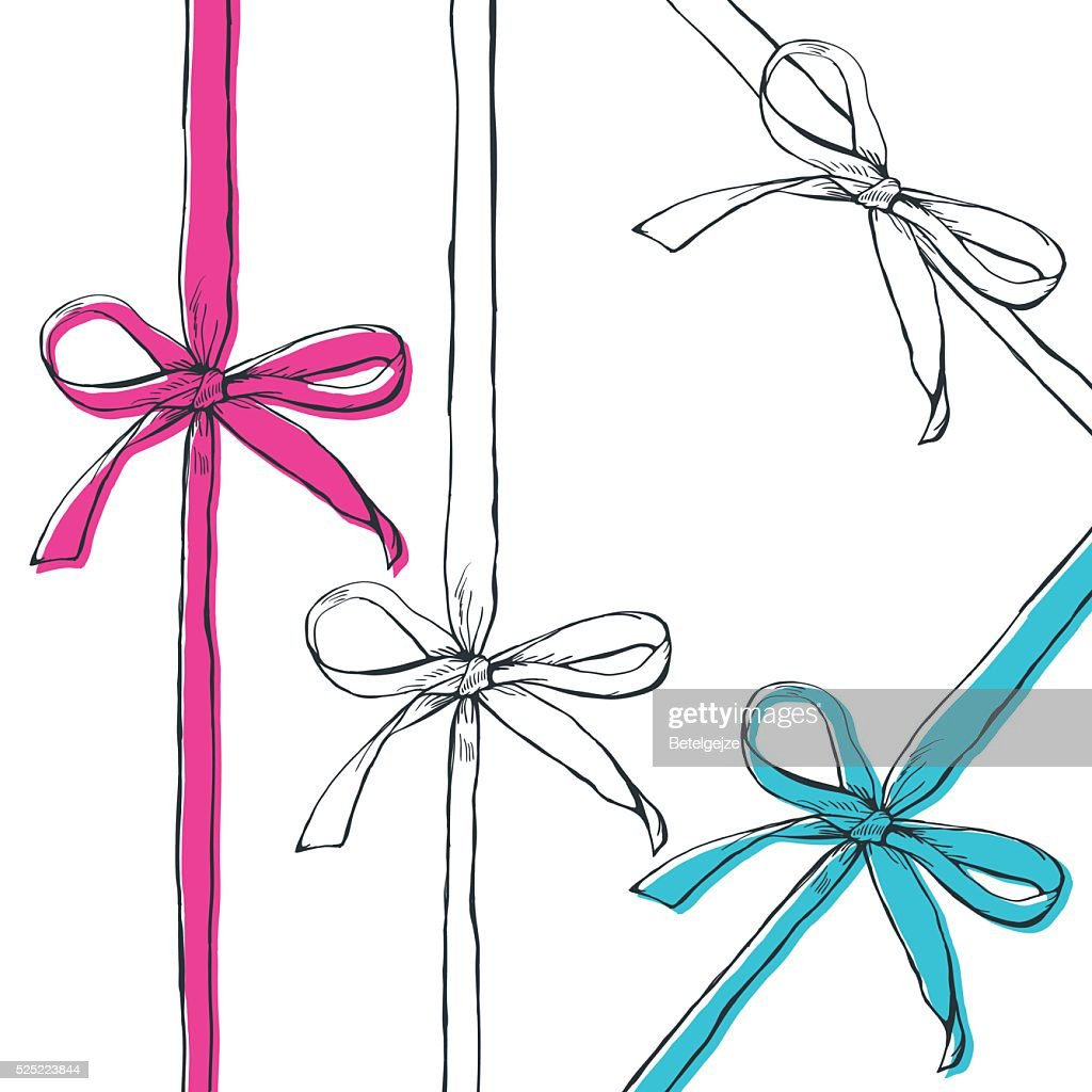 Set of vector hand drawn outline bow ribbons, isolated.