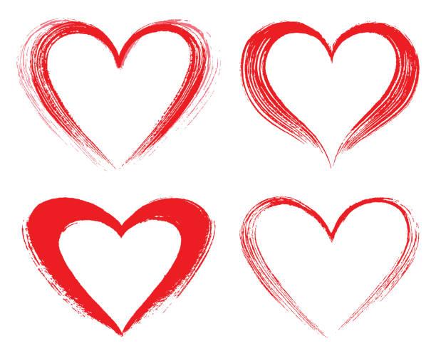 set of vector hearts - heart shape stock illustrations
