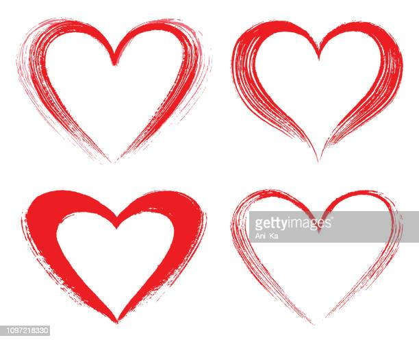 set of vector hearts - heart shape stock illustrations