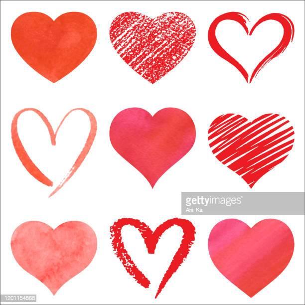 illustrazioni stock, clip art, cartoni animati e icone di tendenza di insieme di cuori vettoriali - cuore