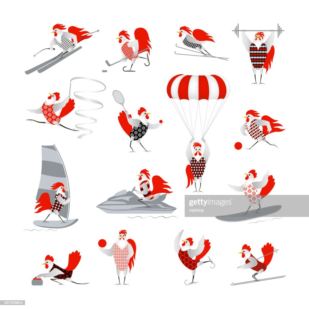 Set of vector hens and roosters
