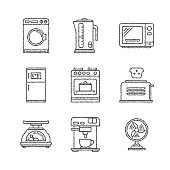Set of vector household appliances icons and concepts