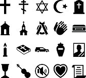 Set of vector icons cemetery and funeral and a accessories