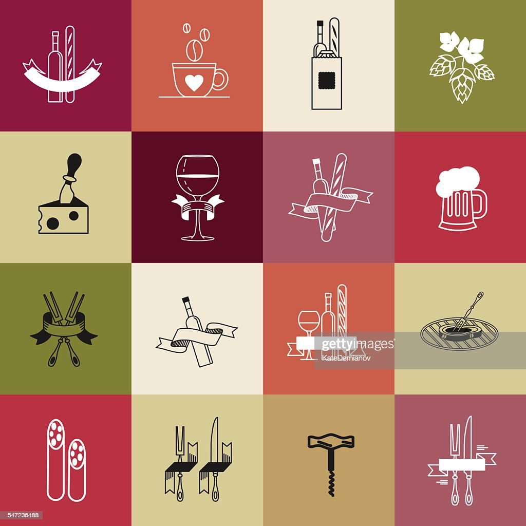 Set of vector icons. Food, dishes, accessories.