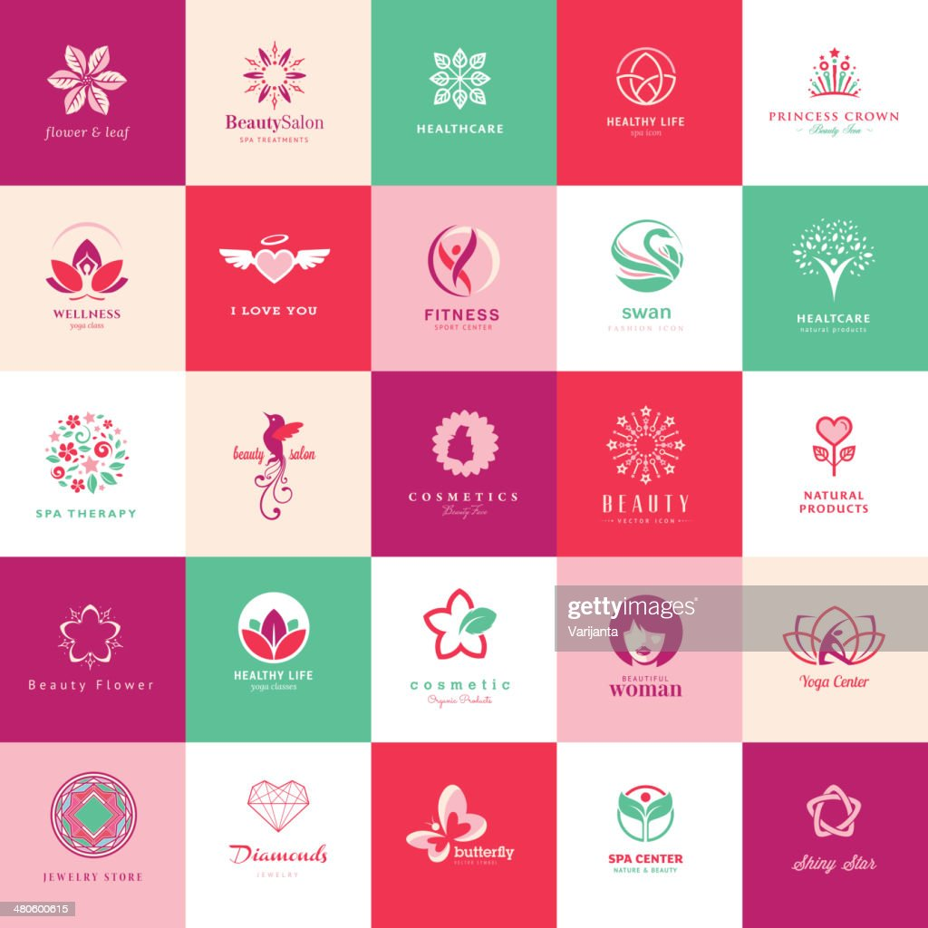 Set of vector icons for beauty