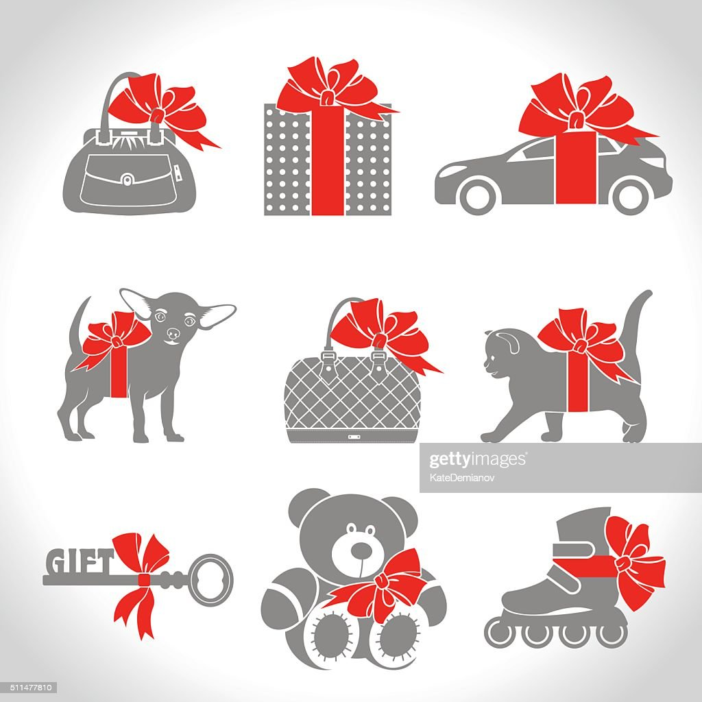 Set of vector icons, gifts.