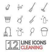 Set of vector icons in a linear style on a cleaning theme.