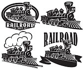 Set of vector icons in vintage style with locomotives. Emblems, labels, badges or patterns on a retro railroad theme
