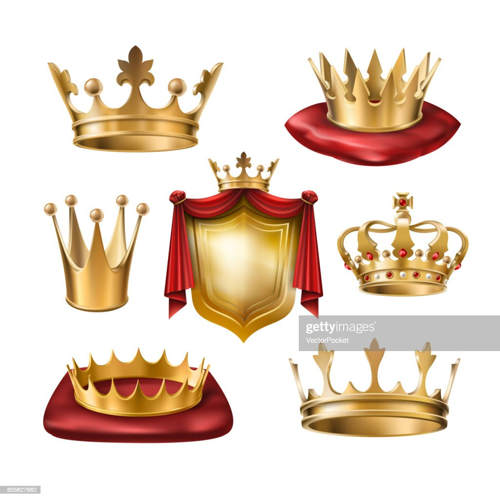 Set of vector icons of royal golden crowns of various kinds and coat of arms isolated on white.