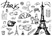 Set of vector icons Paris