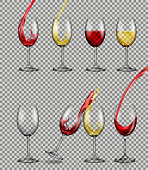 Set of vector illusions of transparent glass glasses with red and white wine.