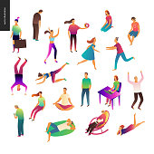 Set of vector illustrated people