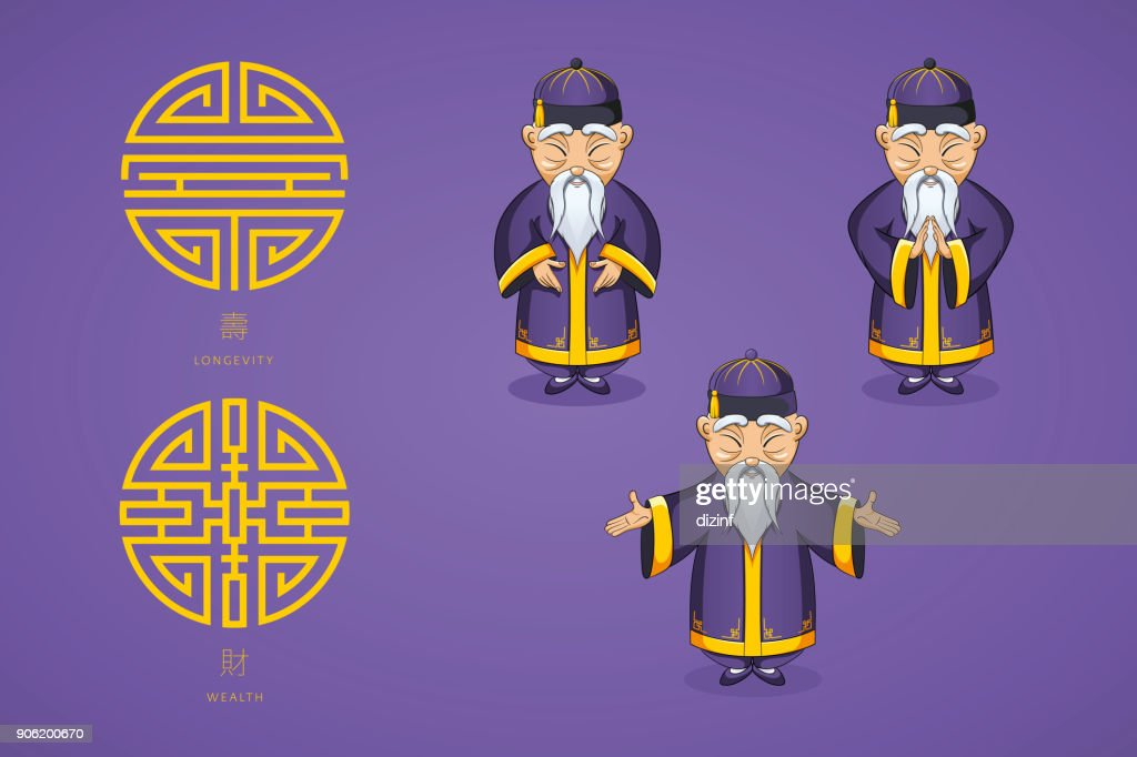 Set of vector illustration Asian old man in national clothes in different poses. Ancient symbol of longevity and wealth
