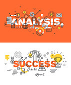 Set of vector illustration concepts of words analysis and success