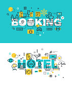 Set of vector illustration concepts of words booking and hotel