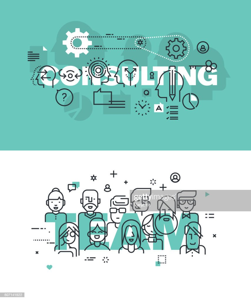 Set of vector illustration concepts of words consulting and team