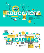 Set of vector illustration concepts of words education and e-learning
