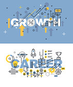Set of vector illustration concepts of words growth and career
