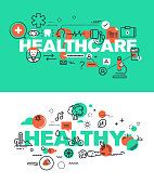 Set of vector illustration concepts of words healthcare and healthy