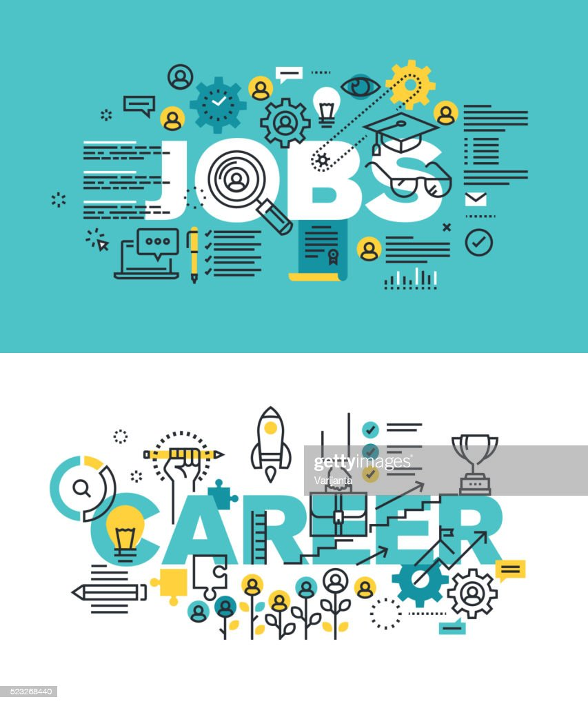 Set of vector illustration concepts of words jobs and career