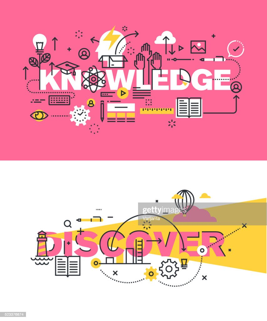 Set of vector illustration concepts of words knowledge and discover