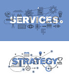 Set of vector illustration concepts of words services and strategy