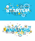 Set of vector illustration concepts of words startup and analysi