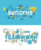 Set of vector illustration concepts of words success and teamwork