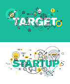 Set of vector illustration concepts of words target and startup