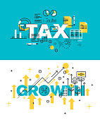 Set of vector illustration concepts of words tax and growth