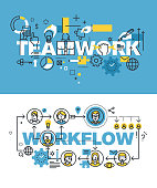Set of vector illustration concepts of words teamwork and workflow