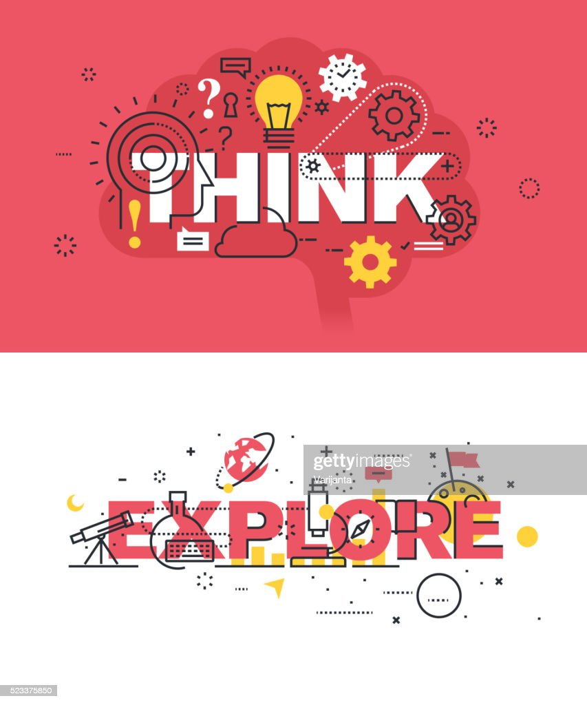 Set of vector illustration concepts of words think and explore