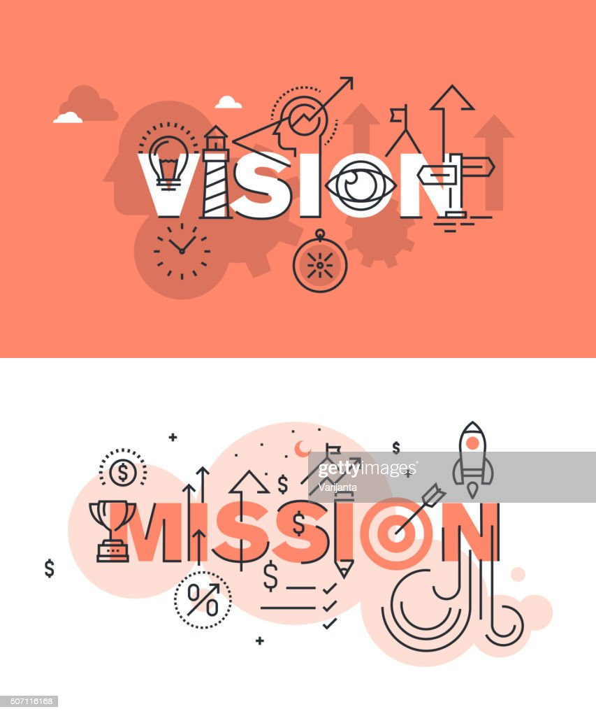 Set of vector illustration concepts of words vision and mission