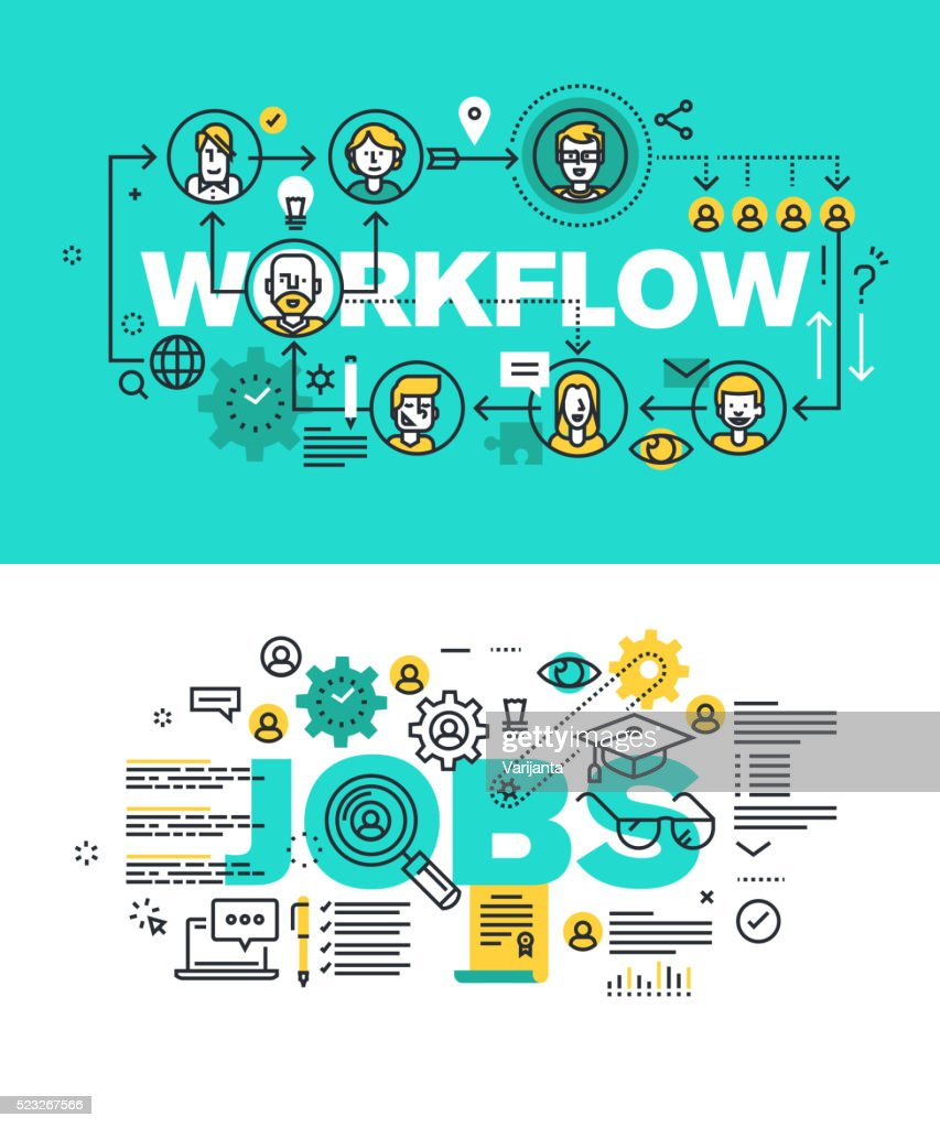 Set of vector illustration concepts of words workflow and jobs