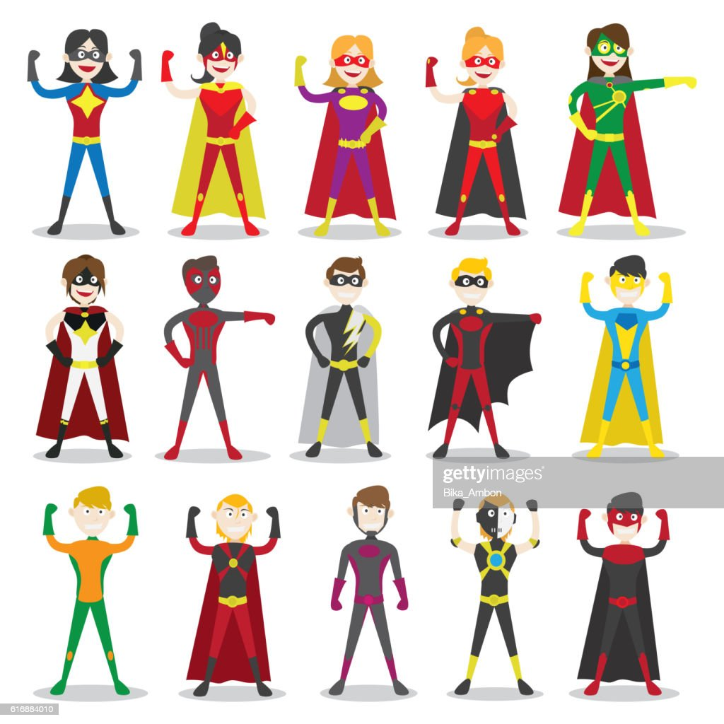 Set of vector illustration of a superhero