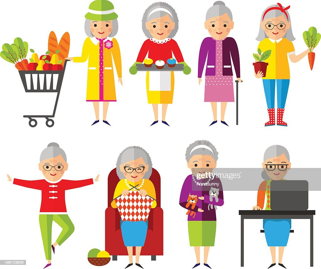Set of vector Illustration old woman in different situations.