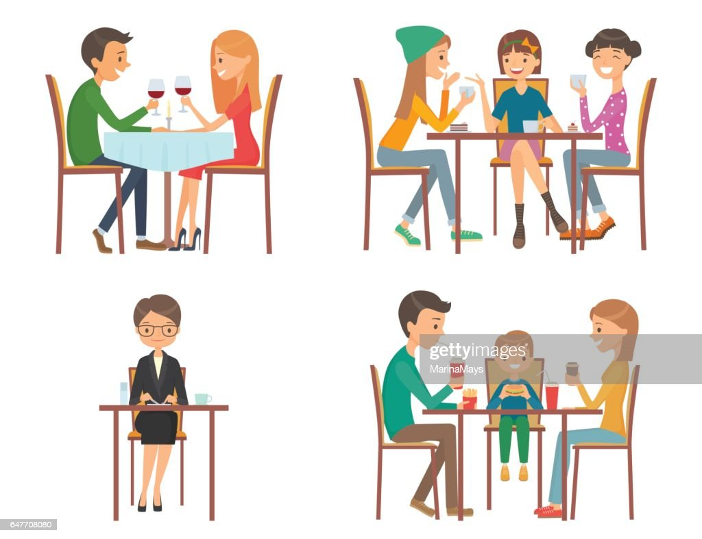Set of vector illustration on the theme of people in restaurant