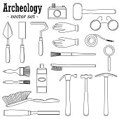 A set of vector illustrations for archeologists and geologists.