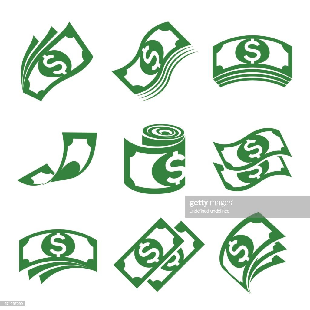 set of vector illustrations for money icons, especially the dollar
