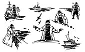 Set of vector illustrations of a sailor with a pipe