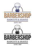 Set of vector illustrations of emblems, labels, barbershop salons.