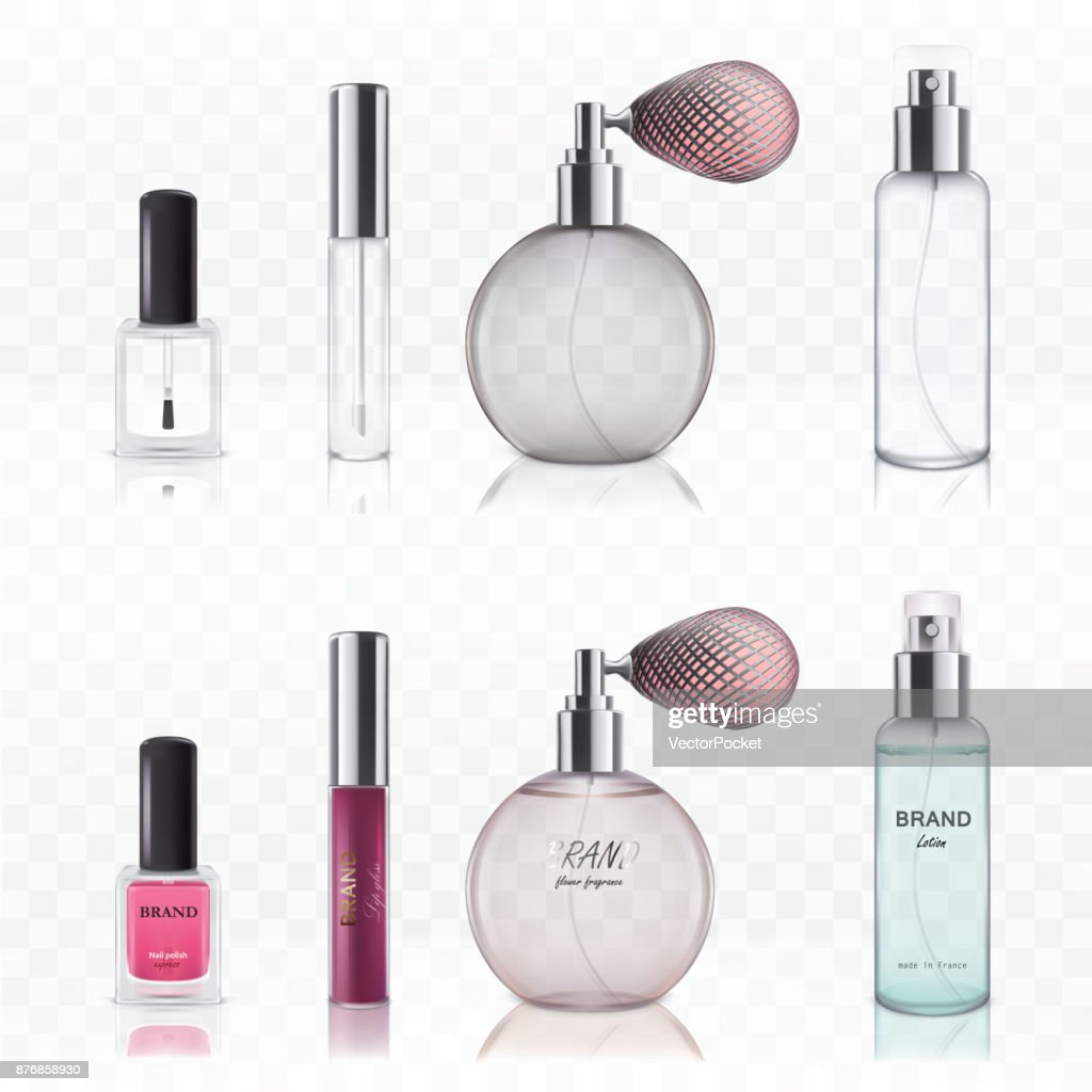 Set of vector illustrations of empty glass cosmetic bottles.