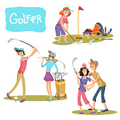 Set of vector illustrations of golf games.