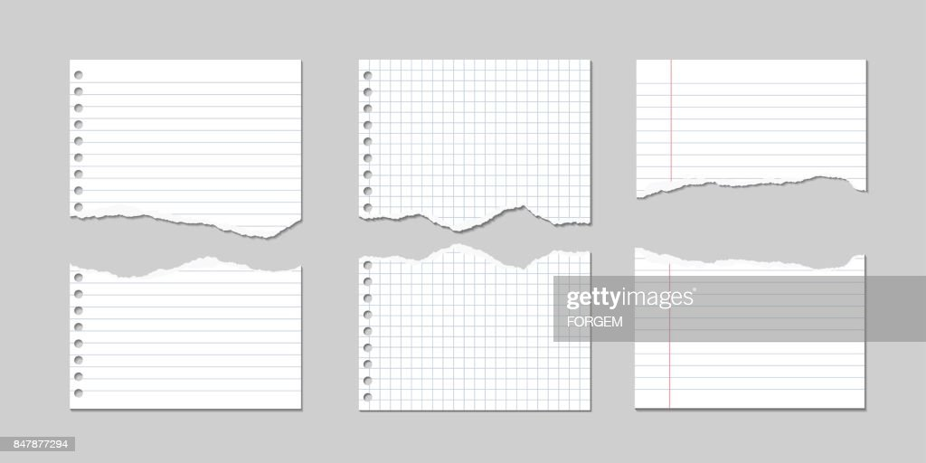 Set of Vector Illustrations of torn pages of notebook paper lined and square with shadows