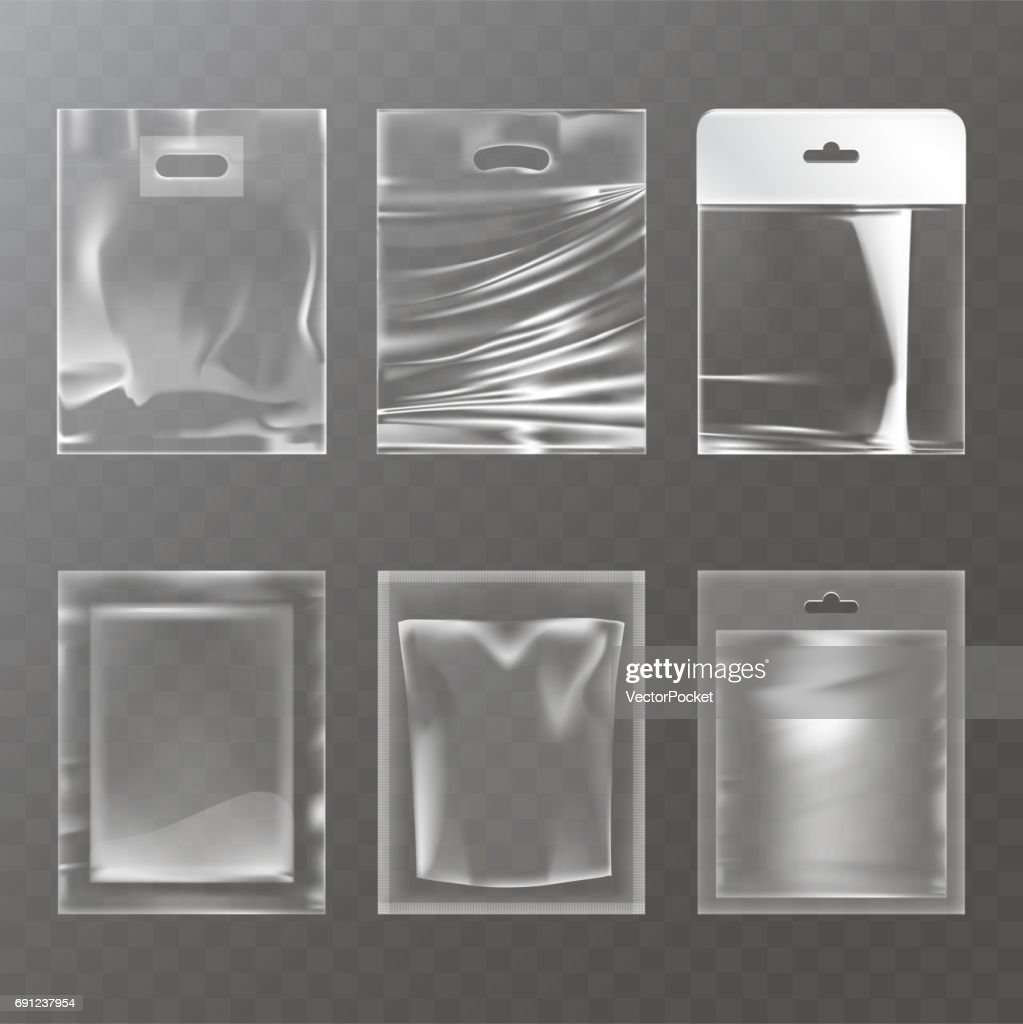 Set of vector illustrations of transparent plastic empty bags, packaging