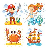 Set of vector illustrations on the theme sea and summer.