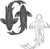 Set of vector illustrations with a mirror koi carp. Isolated objects.