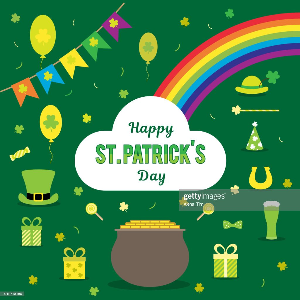 Set of vector images for St. Patrick's Day. Bowler, coins, rainbow, horseshoe, hat, clover, flags, beer, on a green background.
