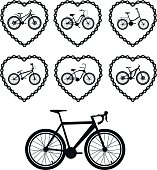 Set of vector images of bicycles. Bicycle chain in the form of heart with a bicycle.