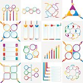 Set of vector infographic templates with hands in flat style